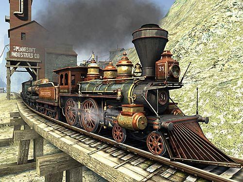 Vieux train de l'Ouest avec son chasse-buffles!!!