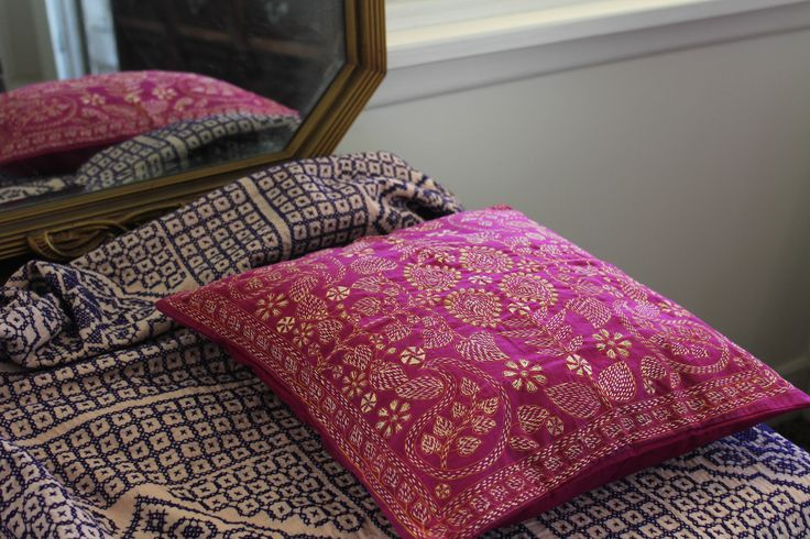 Hand embroidered quilt and cushion.  Ethical homewares made by ANIKA. www.anika.net.au www.facebook.com/anika.net.au