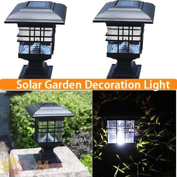 Solar Post Cap Lamp Led Landscape Post Light Waterproof Ip44 Black