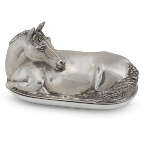 Horse Butter Dish | Pewter | Vagabond House