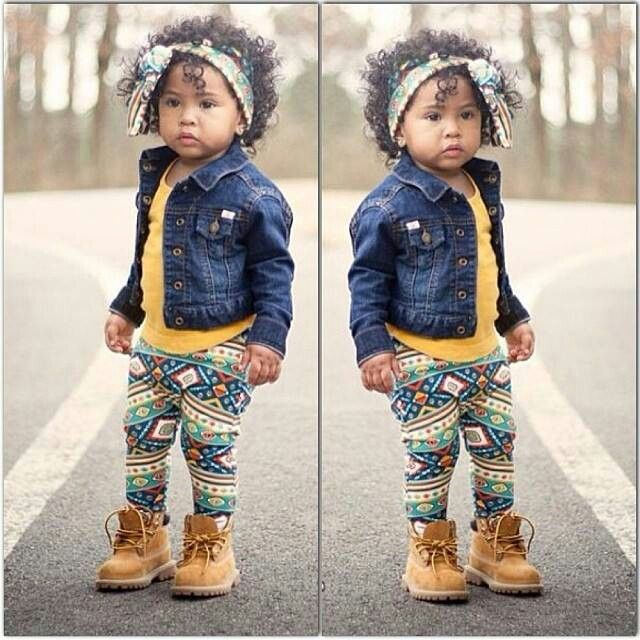 Jean jacket, printed leggings and toddler timberlands