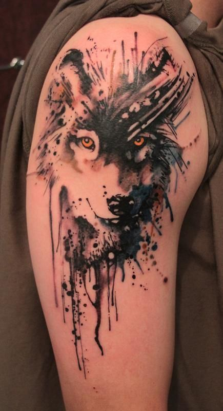 Abstract Watercolor Tattoos: Black and gray wolf