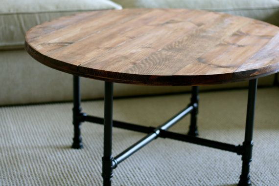 Round Industrial Coffee Table, Reclaimed Wood Furniture, Industrial Pipe Legs, Rustic Table - Free Shipping