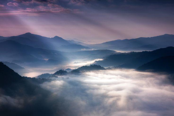 Rays.  Sunrise in Pieniny mountain's.  Poland.  by Marcin Sobas.