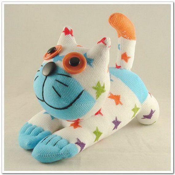 Kostenloser Versand handgefertigte Socke Katze von supersockmonkeys