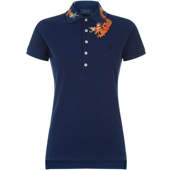 Polo Ralph Lauren Dragon Polo Shirt (£110) ❤ liked on Polyvore featuring tops, embroidered polo shirts, polo collar shirts, polo ralph lauren, embroidered top and collar top