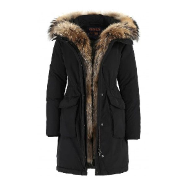 Black WS Military Parka ($1,275) ❤ liked on Polyvore featuring outerwear, coats, military parka coat, military inspired coat, fur coat, hooded coat and military-style coats