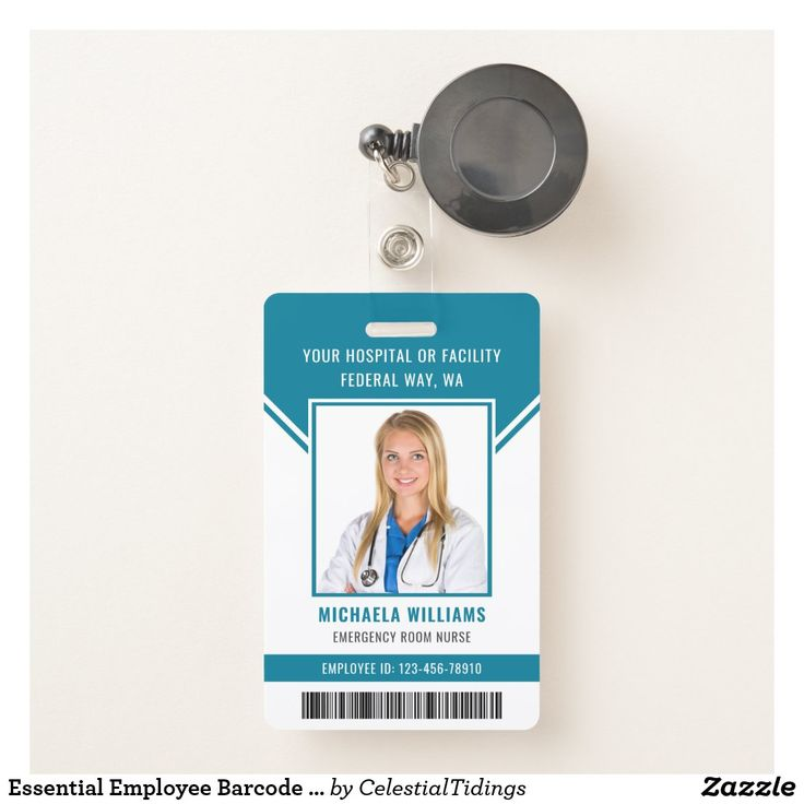 Essential employee barcode photo security id badge
