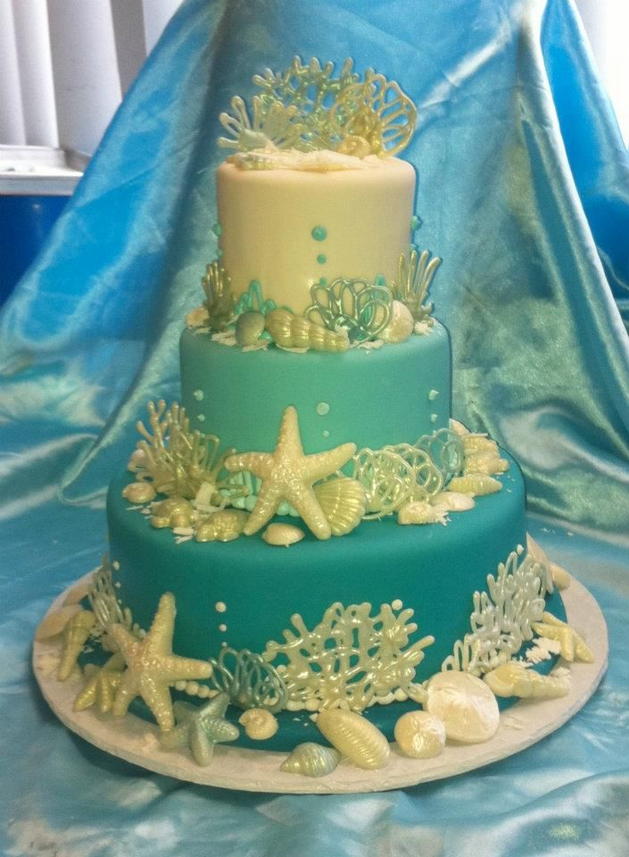 Aqua sea shell fondant layered cake