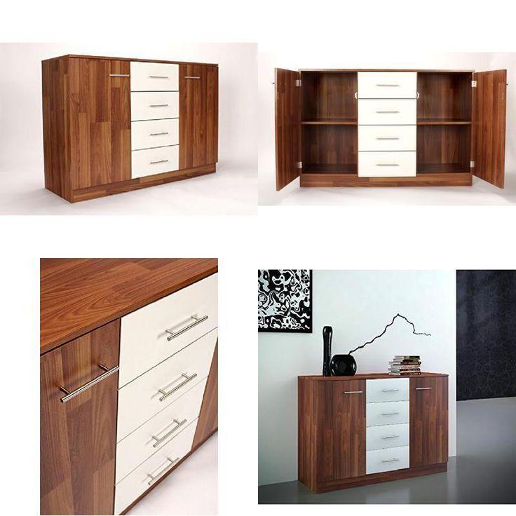 Home Source Sideboard Walnut & White Large Cupboard 2 Door 4 Drawer Internal She