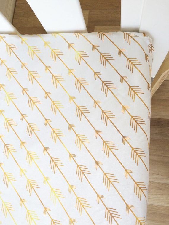 Gold Arrows Fitted Cot Sheet Crib Sheet by BooLittleLinens