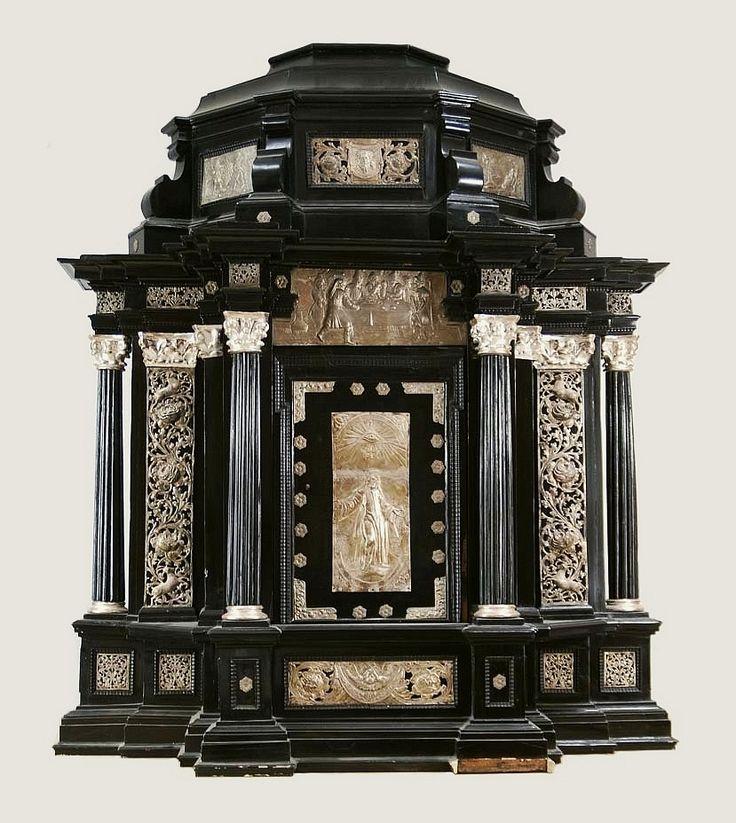 Ebony tabernacle with silver plaques from the Chapel of the Seminary in Łowicz by Johann II von Hausen in Toruń, fourth quarter of the 17th century, Skarbiec katedry w Łowiczu, founded by Michał Stefan Radziejowski