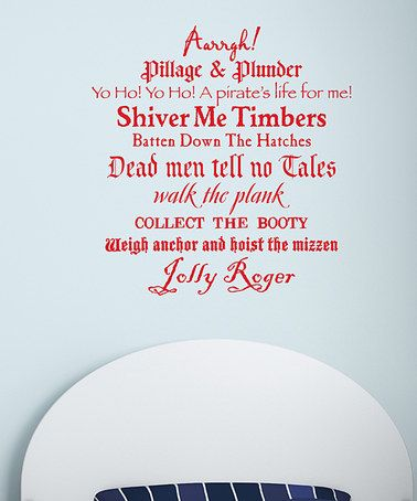 Look at this #zulilyfind! Red Pirate Phrases Wall Quotes™ Decal #zulilyfinds