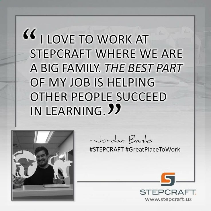 """I love to work at Stepcraft where we are a big family. The best part of my job is helping other people succeed in learning."" –Jordan Banks #STEPCRAFT #GreatPlaceToWork #Torrington #Connecticut #design #carve #create #woodworking #cnc #cncrouter #cncowners #stepcraftcnc START your own CNC business with a #STEPCRAFT #CNC #3dprinter. www.stepcraft.us info@stepcraft.us"