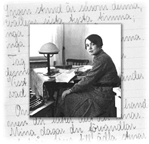Karin Boye (1900 - 1941). Here you find the complete poems (in Swedish) of Karin Boye as well as some translations to english and other languages. You also find excerpts of prose, recordings and water-colours.