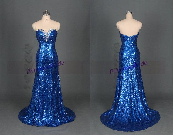 Long royal blue sequins evening dress with rhinestones,sparkly women gowns for prom party,inexpensive graduation prom dress on sale. This dress
