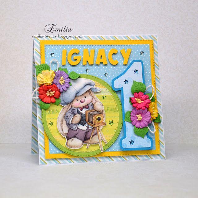 Emilia tworzy: Na roczek/Kartka na roczek dla chłopca/First birthday card