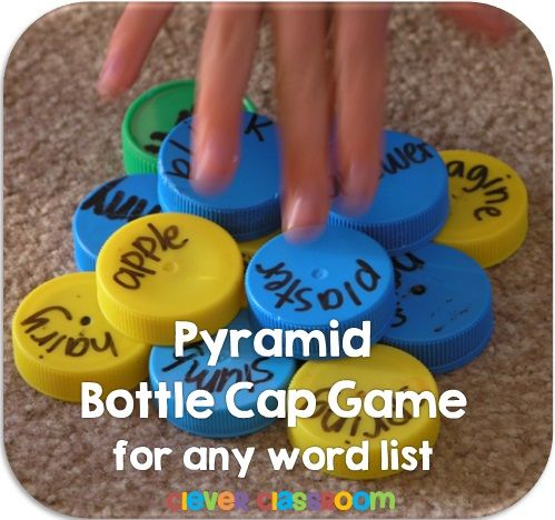 Pyramid Bottle Cap Center Game$ - It's easy to play, players take turns to read and place lids in the middle of their circle to form a pyram http://www.teacherspayteachers.com/Product/Pyramid-Bottle-Cap-Center-Game-for-any-List-825606