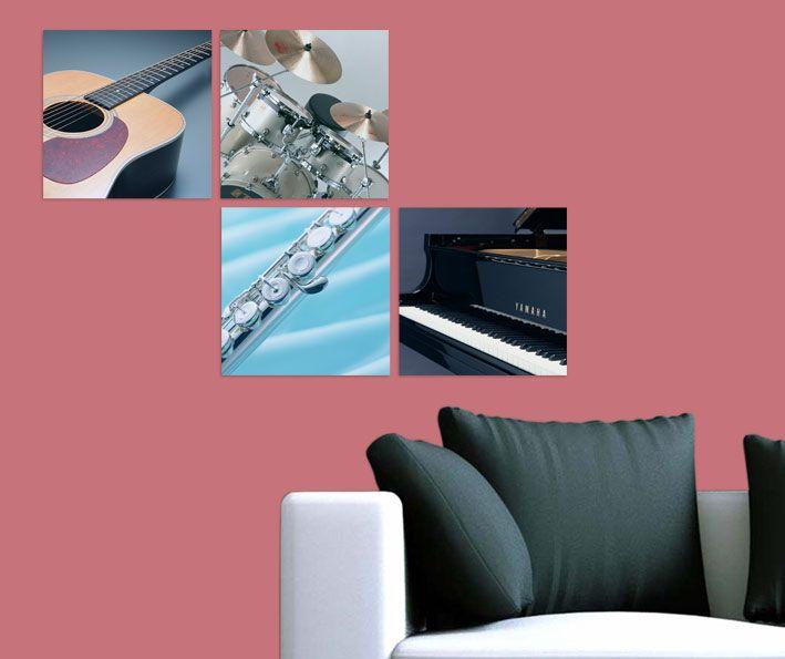 Müzik Aletleri Tablo 4 parçalı tablolar