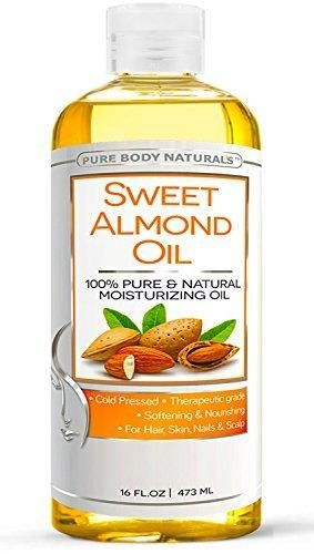 Pure Body Naturals - Sweet Almond Oil Super Triple A Grade Quality 100% Pure and Natural from Spain Cold Pressed Massage Oil 16 fl oz. (1 Pack)