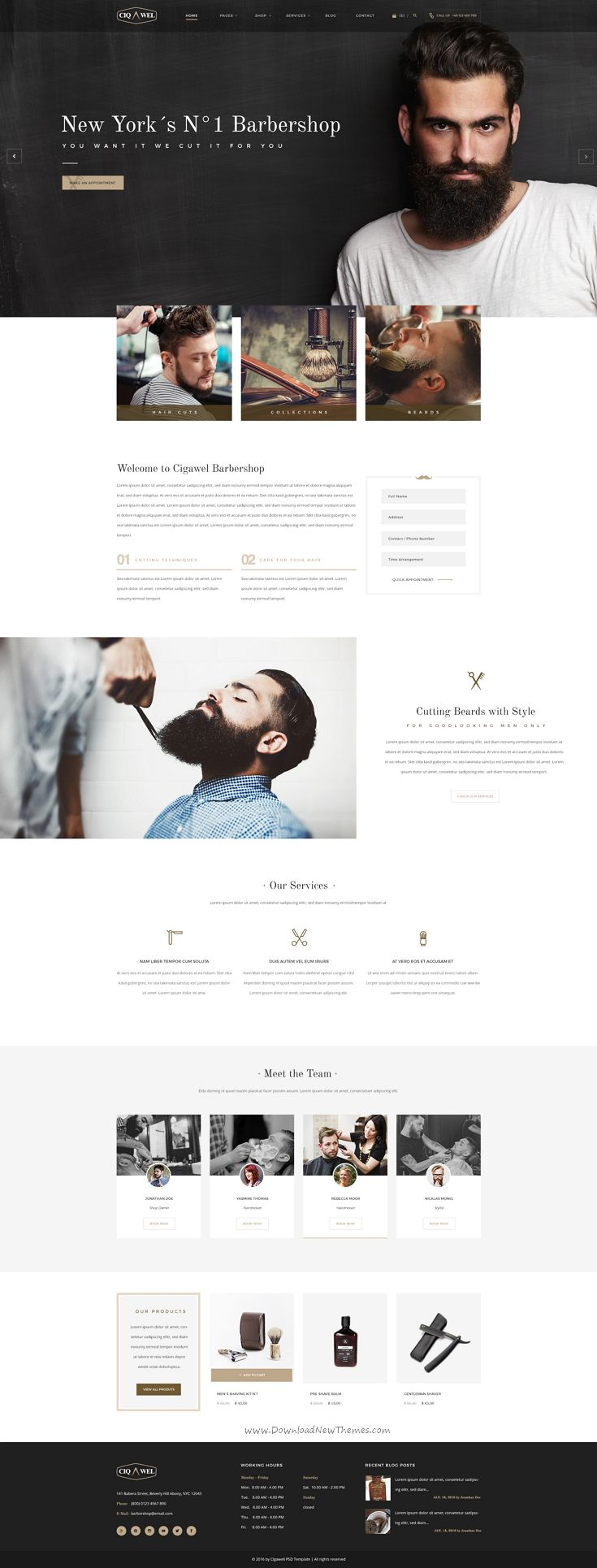 Ciqawel is premium #PSD template for #barber shop and hair #salon #websites. Download Now!