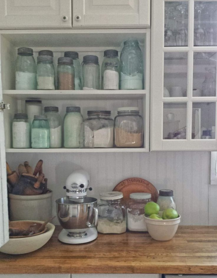 ball jars in kitchen