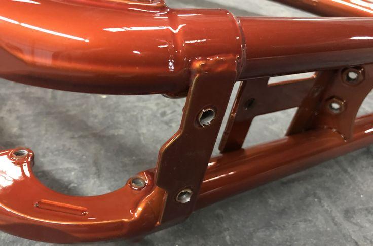 Translucent copper powder coated Harley Davidson frame