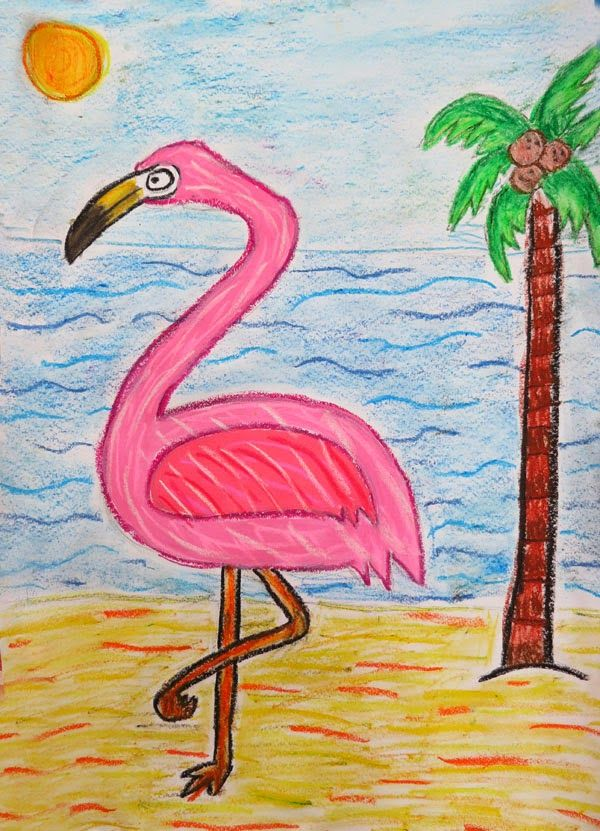 Kate's beautiful mixed media flamingo using acrylics, watercolour and soft pastels (age 11).