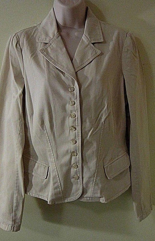 POLO JEANS CO. LIGHT BEIGE COTTON BLAZER  w/Long Sleeves, Fitted Cut, V-Neck - L #PoloJeansCo #Blazer $18.99