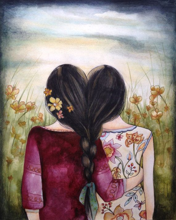 Art print sisters best friends black hair by PrintIllustrations, $20.00