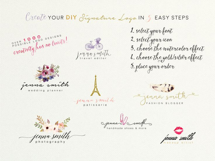 Create Your DIY Signature Logo Design in 5 Easy Steps by Combining Fonts, Icons and Color Effects into an Unique Design Delivered in 24H by SmallBottleCreations on Etsy