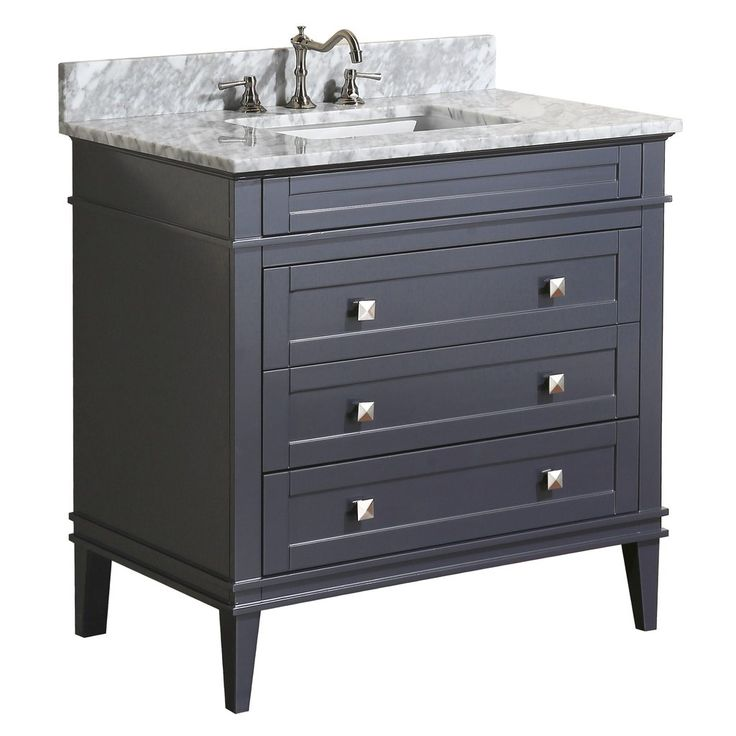 The Eleanor: timeless, sophisticated beauty. This bathroom vanity set includes a charcoal graycabinet with soft-close drawers, Italian…