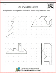 Line Symmetry Sheet 5, a symmetry worksheet 3rd grade involving completing the missing part of the shape