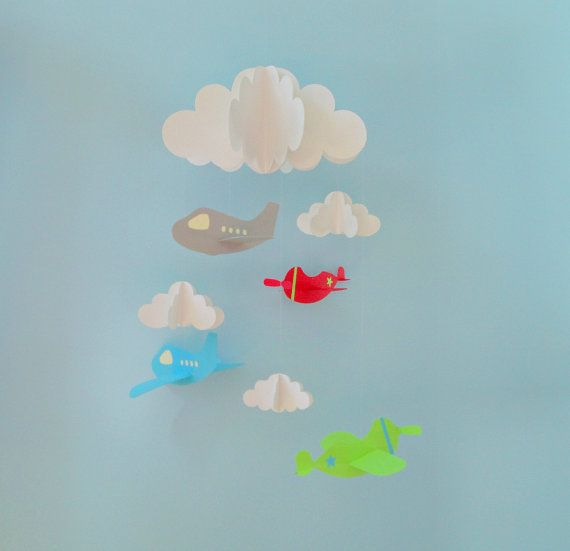 Airplane Baby Mobile Plane Mobile Hanging Baby by goshandgolly, $43.00