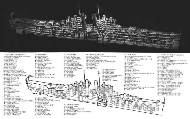 Cut- away drawing of a Cleveland class cruiser.