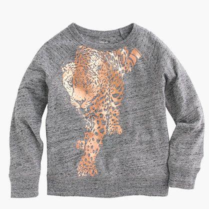 J.Crew - Girls' three-quarter-sleeve foil leopard T-shirt