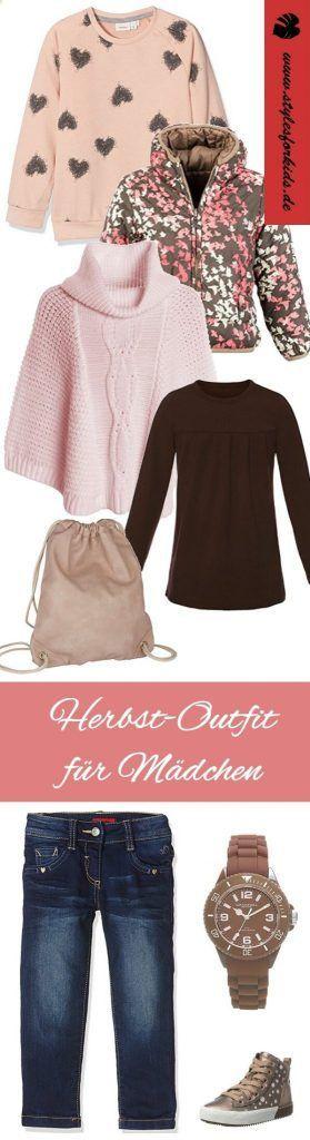 Herbstoutfit für Mädchen - kuschelig weiche Pullover und Ponchos, tolle wendejacke und mehr auf www.Stylesforkids.de - Herbstfarben rosa, braun, beige #fashion #kids #Herbst