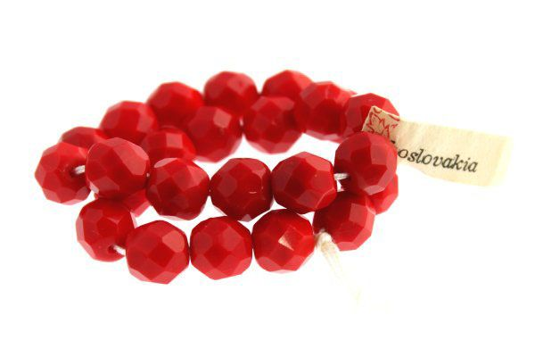 Vinatge Fire Polished Beads - Red Made in Czechoslovakia $5.50CAD #craftdeville #vintage #beads