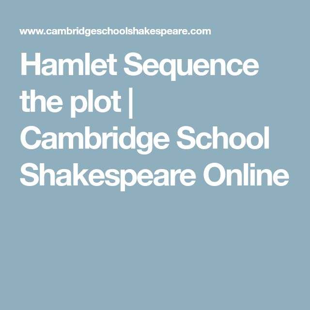 Hamlet Sequence the plot | Cambridge School Shakespeare Online