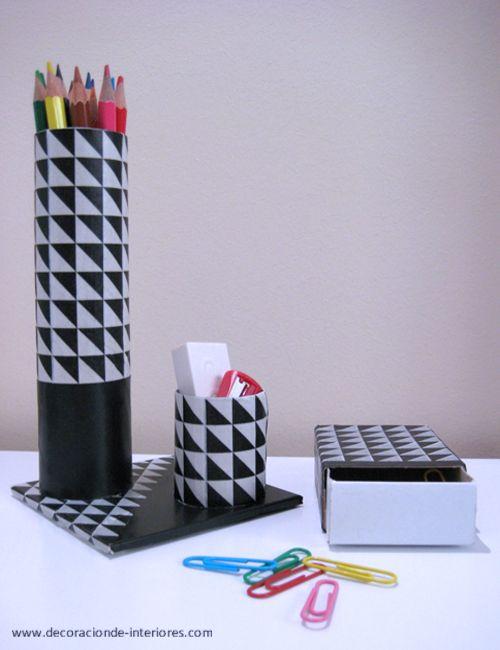Conjunto de escritorio de cartón y washitape | Decoración de Interiores •  #DIY Desk set from cardboard and washi tape