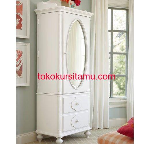 Lemari Baju Anak Ovale L-6LPA memiliki tampilan minimalis terbuat dari kayu mahoni yang kami sempurnakan dengan finishing duco putih cocok buat ruangan anak