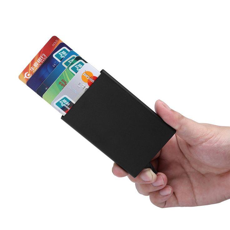 Slim Thin Business Card Case PU & Alloy Bank Credit Card Package credit card holder Card Box carteira feminino masculina