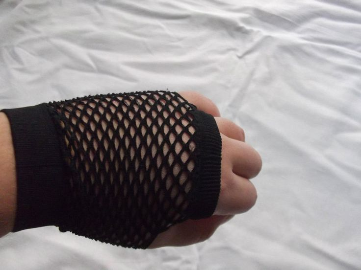 short black fishnet mittens one size #noname