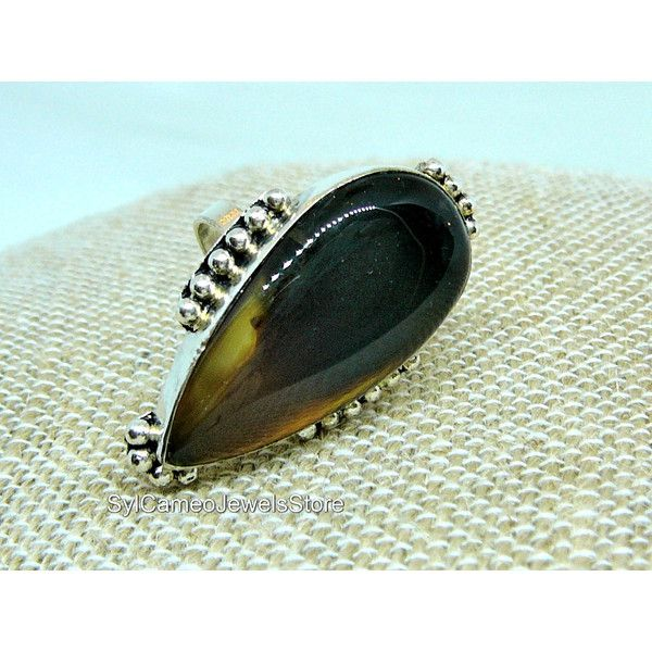 Gemstone Sterling Silver Ring Moss Agate Teardrop Stone... ($35) ❤ liked on Polyvore featuring jewelry, rings, brown gemstone ring, agate ring, gemstone rings, sterling silver gemstone rings and teardrop ring