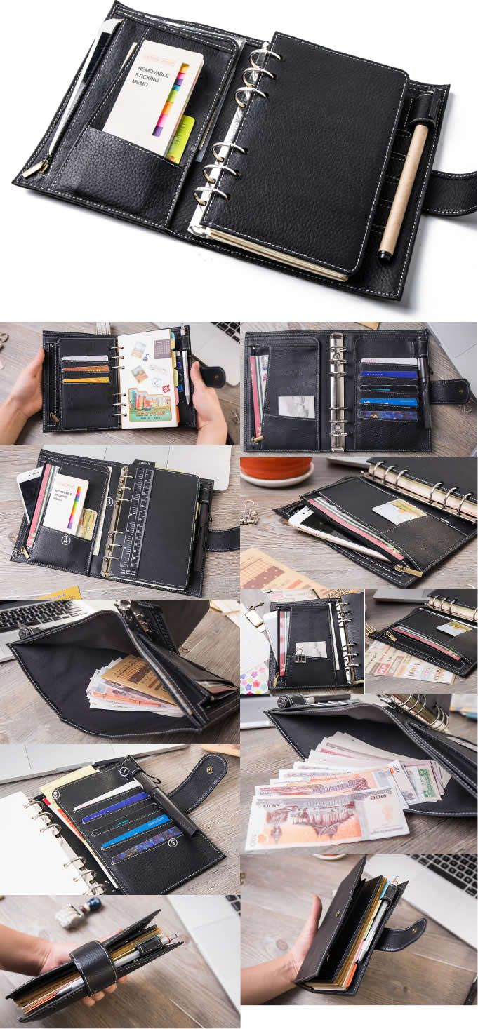 Handmade Cow Genuine Leather Refillable Traveler S Loose Leaf Notebook Travel Business Portfolio Bag Professional Organizer Pen Pencil