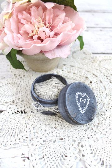 Ring Bearer Pillow Box with Lace, Ring Box, Ring Holder with Laurel Heart Wreath, Rustic Vintage Wedding, Personalized Ring Box by DesignLifeStudio on Etsy