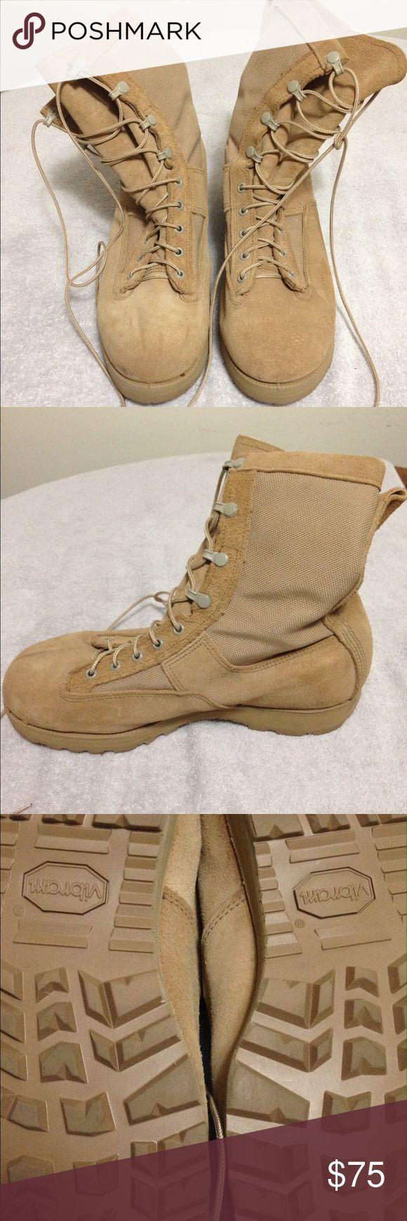 Men's Combat Boots NWOT men's Army Combat Boots made by Belville. Size 10W. Desert Tan. Belville Shoes Boots