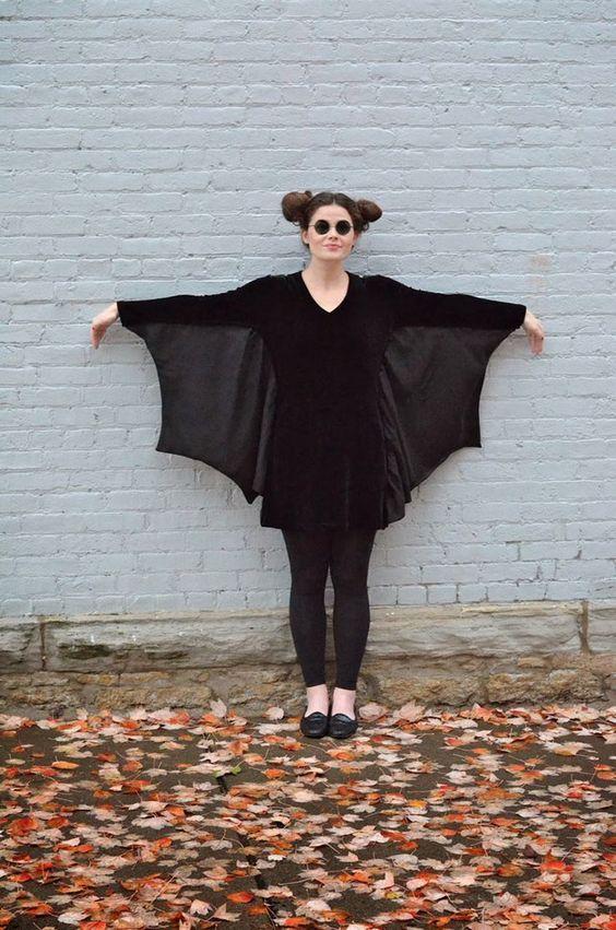 Halloween Costume Ideas - LBD into Bat Costume #Halloween
