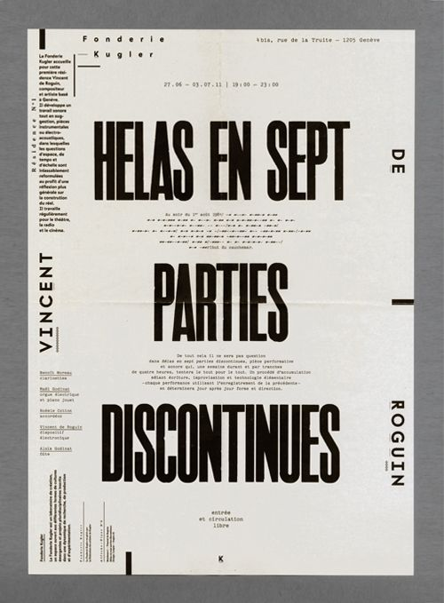 Fonderie Kugler — Flyer Residence 1, Vincent de Roguin   Designer: Alex W. Dujet - http://www.alexwdujet.net