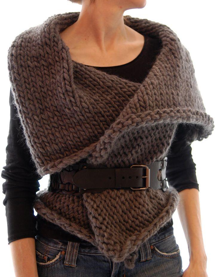 Knit 1 LA: Magnum Reversible Vest/Wrap knit pattern (takes about 2.5 skeins of Cascade Magnum yarn)